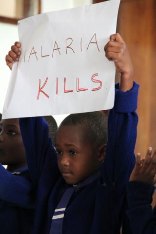 Child holding malaria kills poster
